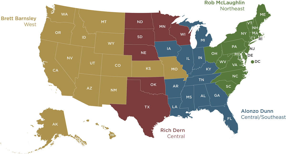 US Map of Business Development Leaders for each state.